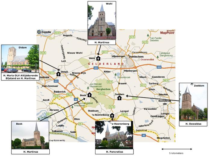 De vijf katholieke kerken in de gemeente Montferland en Wehl die openblijven. Zes kerken gaan dicht.