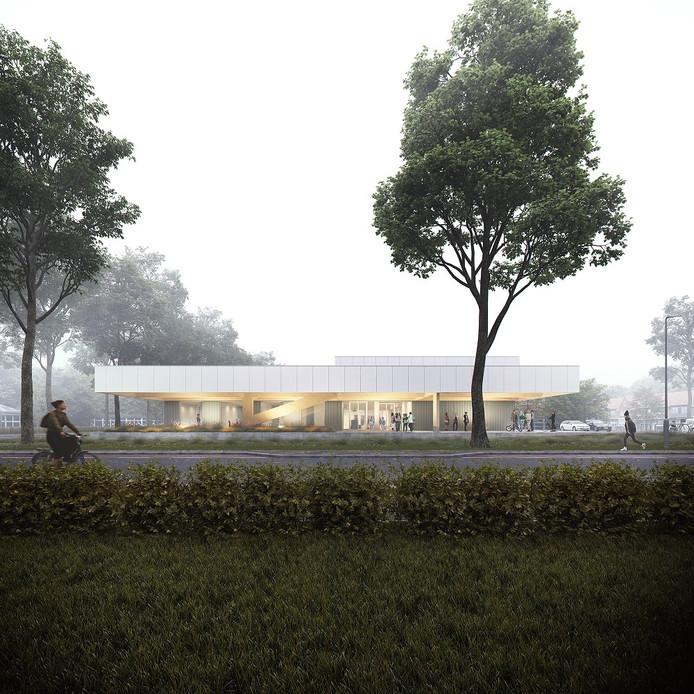 Zo komt het nieuwe zwembad in Velp er ongeveer uit te zien. Deze tekening laat nog niet het doelgroepenbad en het peuterbad zien die bij het bad zijn gepland.