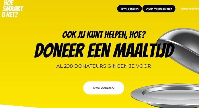 De website van Hoesmaaktuhet.nl Voor 3 euro kunt u een maaltijd doneren aan bijvoorbeeld zorgpersoneel.