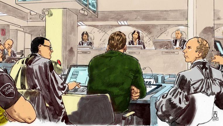 Willem Holleeder en zijn advocaten in de rechtbank. Beeld Aloys Oosterwijk