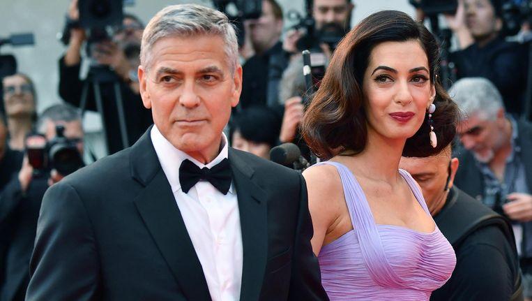 George Clooney met zijn vrouw Amal Alamuddin Clooney.
