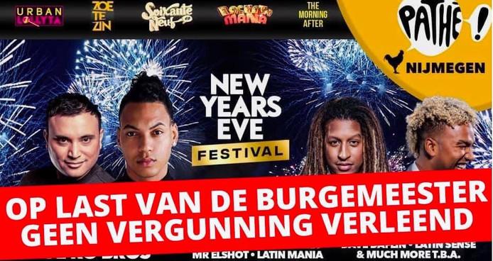 Het New Years Eve-festival in Pathé Nijmegen werd afgelast.