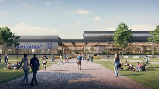 Nieuw pand Unilever dat in 2019 op Wageningen Campus staat. De nieuwe vestiging is goed voor zeker de helft van de nieuwe banen.