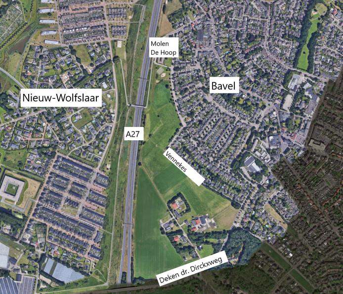 Het gebied waar de gemeente Breda het voorkeursrecht op wil vestigen, is het groene gebied in het midden van het kaartje: tussen de A27, Molen de Hoop, de Vennekes en de Deken dr. Dirckxweg.