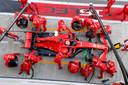 Een pitstop van Sebastian Vettel.