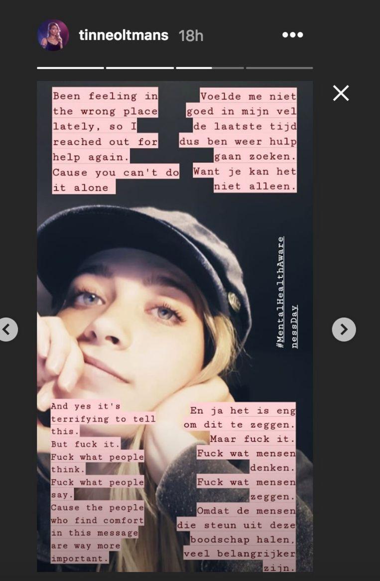 Tinne Oltmans op Instagram.