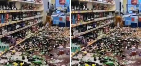 Elle fracasse 500 bouteilles d'alcool dans un supermarché