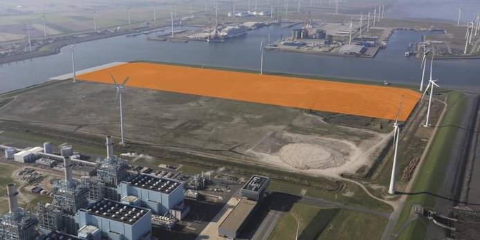 Van Merksteijn krijgt in de Eemshaven de beschikking over een kavel van 50 hectare (het oranje gedeelte).