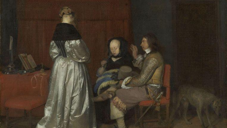 Gerard ter Borch: Galante conversatie, bekend als 'De vaderlijke vermaning' (ca. 1654). Beeld Rijksmuseum