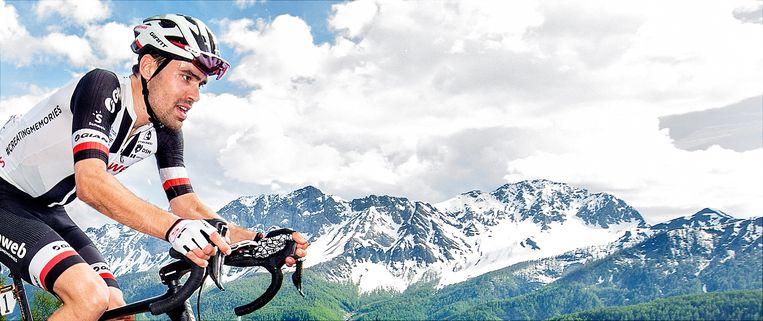 Tom Dumoulin op 1300 meter van de finish in de beklimming van de Jafferau tijdens de Giro.  Beeld -