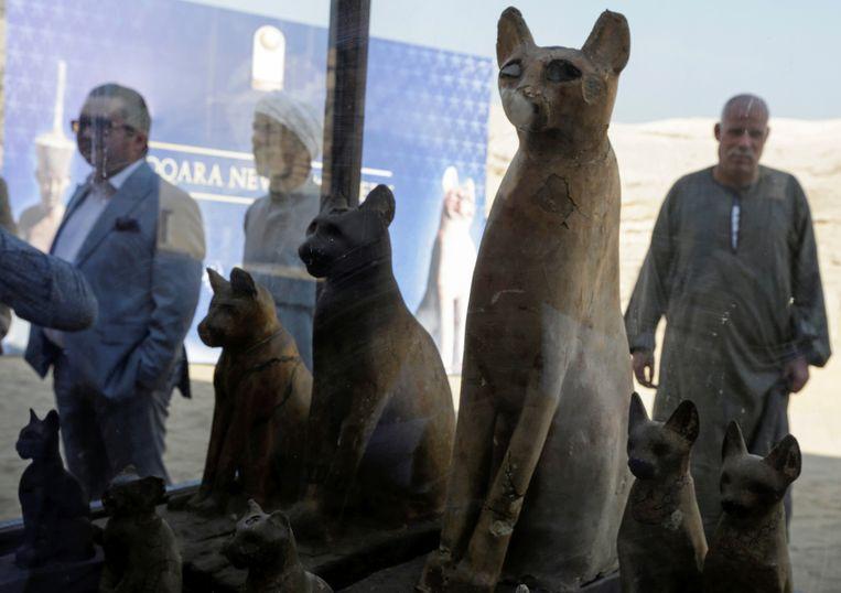 Standbeelden van katten.