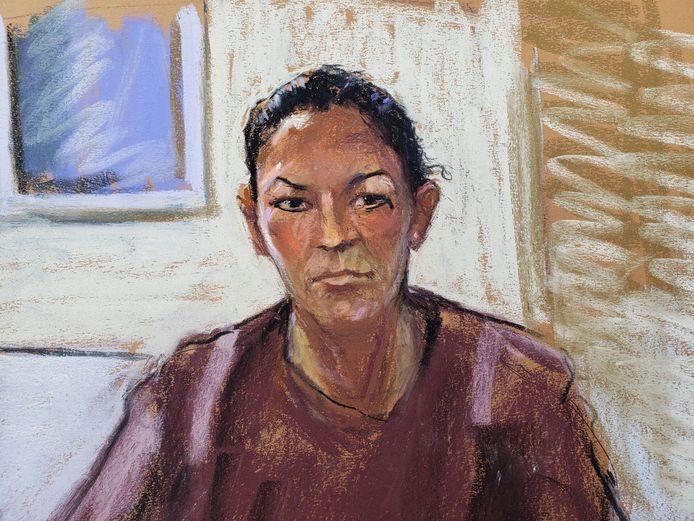 Een schets van Ghislaine Maxwell tijdens een hoorzitting.