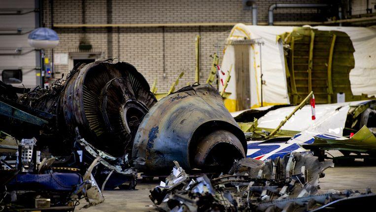 Wrakstukken van het toestel met vlucht MH17 liggen op vliegbasis Gilze-Rijen. Beeld anp