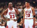 Michael Jordan en Scottie Pippen.