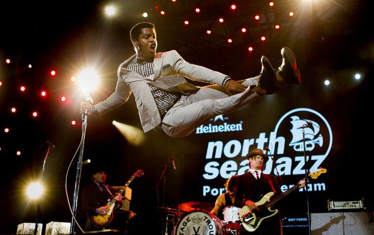 De Amerikaanse rhythm & blues band Vintage Trouble met leadzanger Ty Taylor treedt op tijdens de eerste dag van North Sea Jazz in Ahoy Rotterdam.  Beeld ANP Kippa