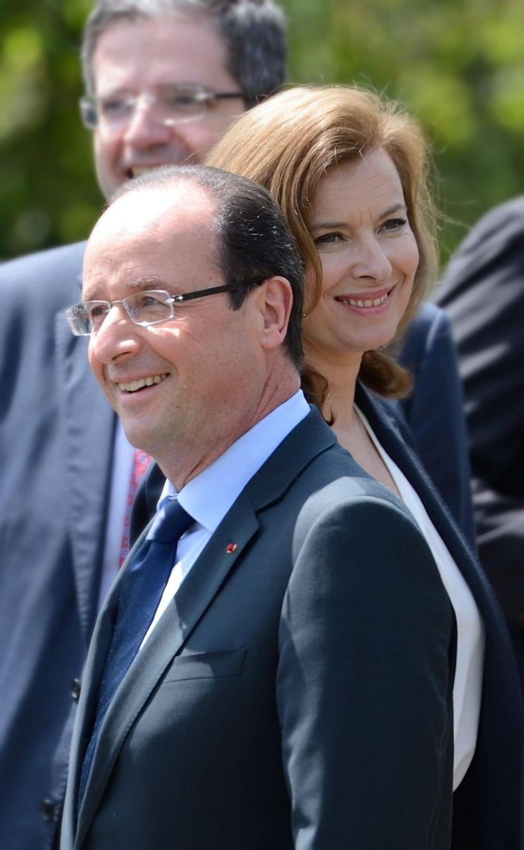 Valerie en de Franse president François Hollande. Beeld afp
