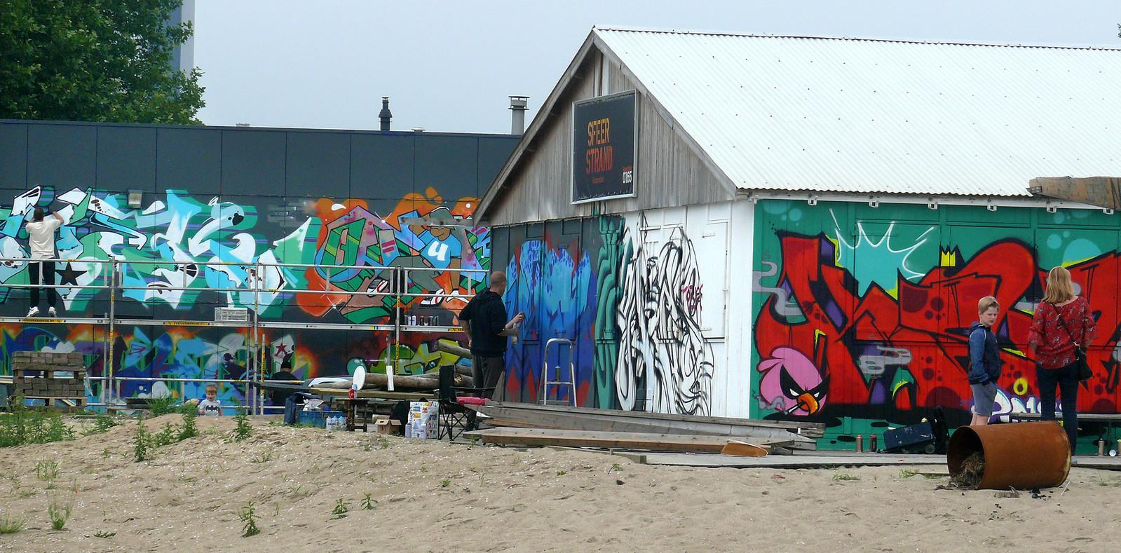 Vierde Graffiti Jam in Roosendaal weer groter feestje  met toevoeging van het Sfeerstrand.