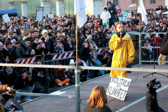 Greta Thunberg tijdens haar speech in Turijn.