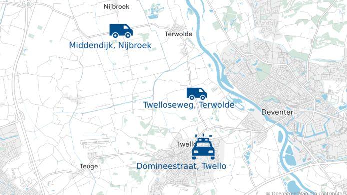 De politie doet onderzoek naar de ontvoering op drie plekken; in Nijbroek, Terwolde en Twello.