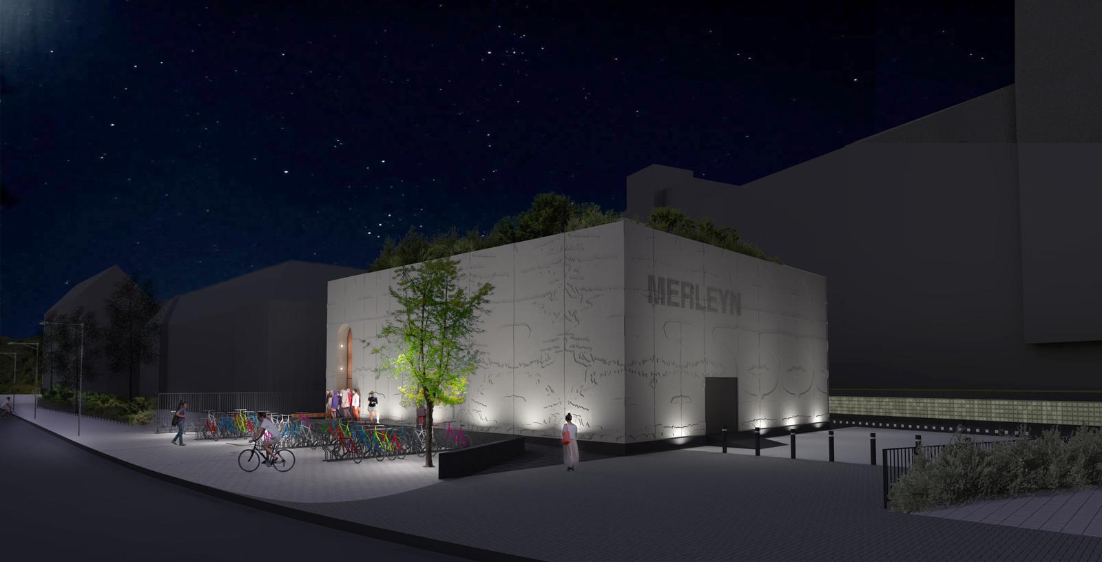 Het ontwerp van het nieuwe Merleyn, poppodium aan de Nieuwe Marktstraat.
