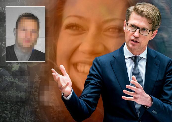 Minister Sander Dekker met slachtoffer Anne Faber op de achtergrond. Inzet: Michael P.