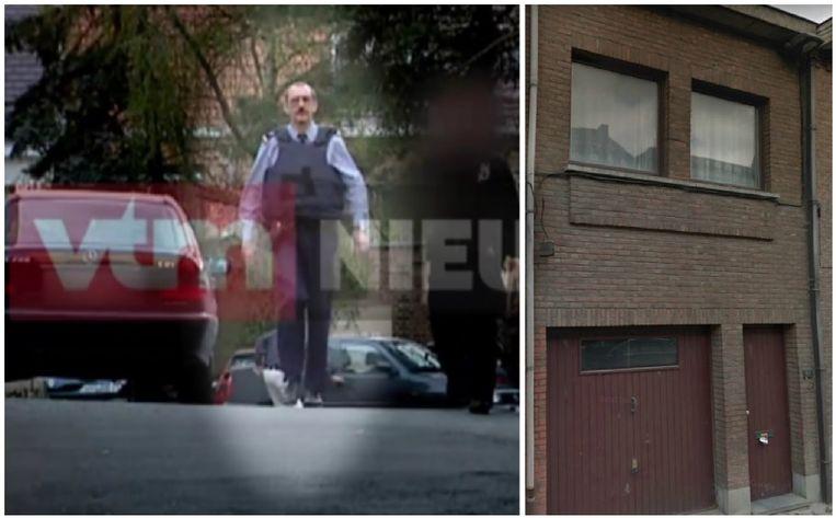 Foto links: VTM Nieuws filmde in 2000 Christiaan B., toen nog rijkswachter, bij de zoektocht naar een ontsnapte crimineel in de regio Aalst. Foto rechts: de bewuste woning aan de Moorselbaan.