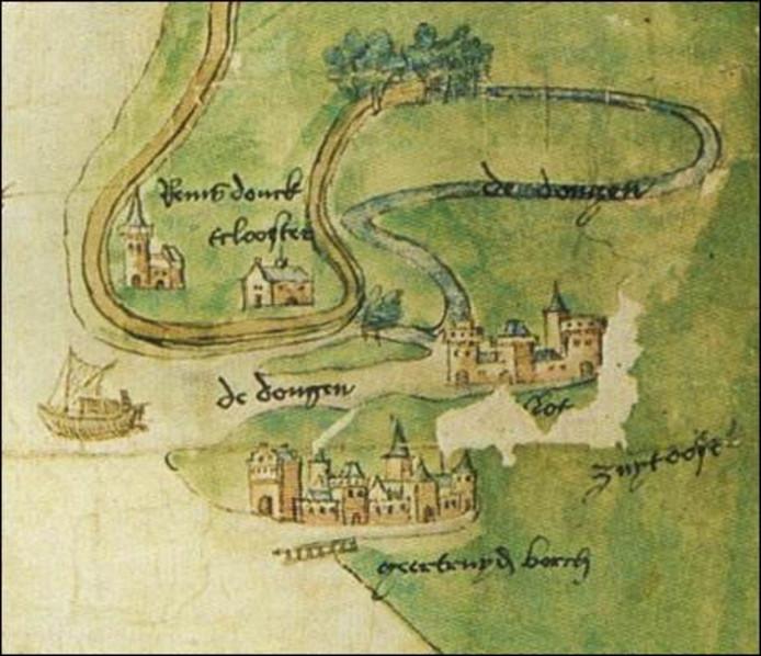 Uitsnede van een anonieme manuscriptkaart uit ± 1520 met 't slot van Geertruidenberg. Bibliotheek Rijksuniversiteit Leiden