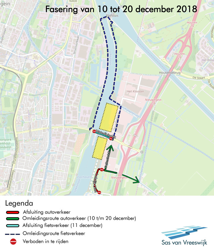 De afsluitingen en omleidingsroutes, die van kracht zijn gedurende de werkzaamheden bij de Beatrixsluis in Nieuwegein.