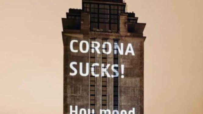 UGent projecteert 'corona sucks' op Boekentoren