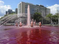 Dit is waarom de fontein op het Hofplein ineens vol 'bloed' ligt