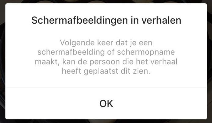 Deze melding verschijnt vanaf nu in je beeldscherm als je een screenshot maakt van een Instagram Story. © AD