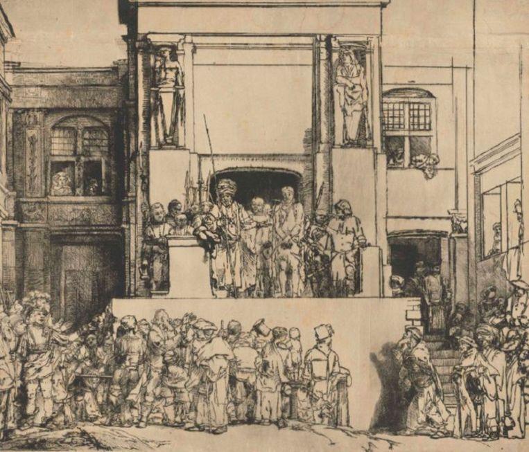 Pontius Pilatus stelt de gevangen genomen Jezus voor aan het volk met de woorden 'Ecce homo', oftewel 'Zie de mens'.