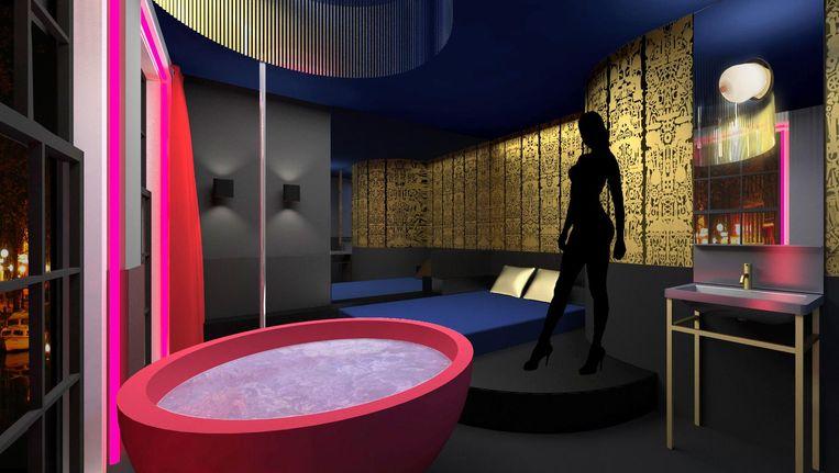In sommige kamers staan een bad en een spiegel en de sekssalon heeft zelfs een paal. Beeld Artist Impression