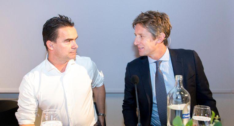 Marc Overmars, directeur voetbalzaken, en Edwin van der Sar, algemeen directeur bij Ajax. Beeld ANP