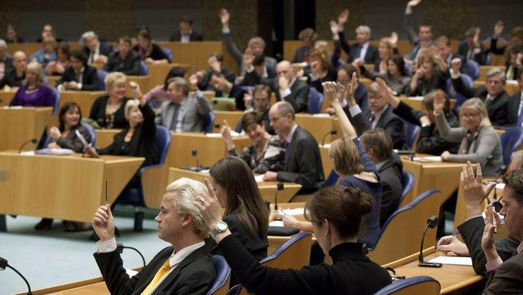De Tweede Kamer tijdens de stemmingen aan het eind van de laatste vergaderdag voor het kerstreces. Beeld anp