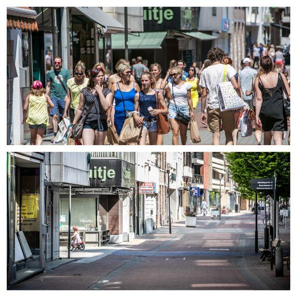 De gekende drukte in de Hasseltse winkelstraten (boven) is nog niet voor morgen (onder).