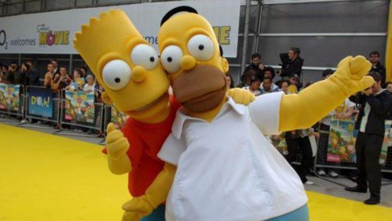 Bart en Homer Simpson op de rode loper. ANP Beeld