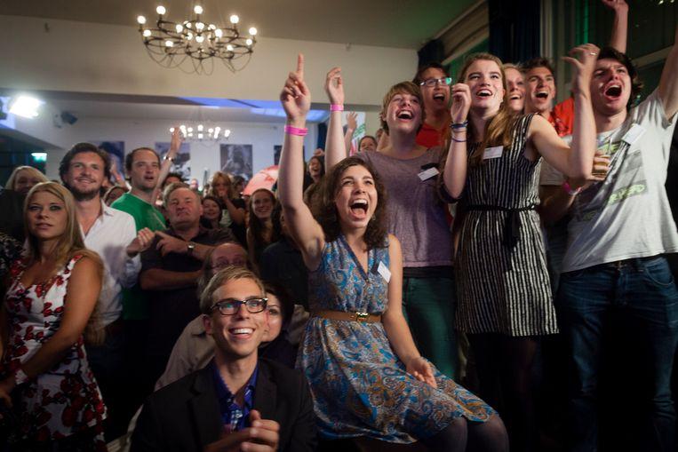 Verkiezingsavond bij GroenLinks. Jongeren van Dwars juichen bij het zien van de prognose van de PVV. Beeld