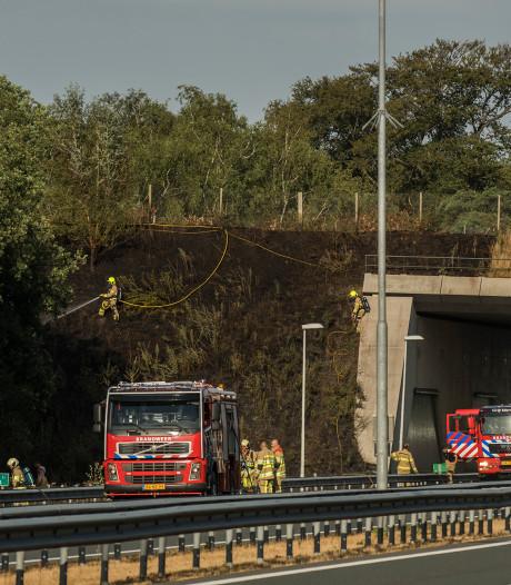Deel ecoduct verwoest door natuurbrand langs A12