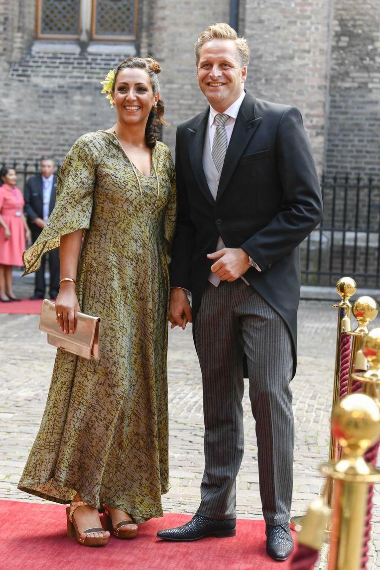 Minister Hugo de Jonge met zijn vrouw Mireille op Prinsjesdag. Beeld ANP