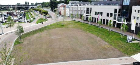 Het gras op de Waalkade wil maar niet groeien