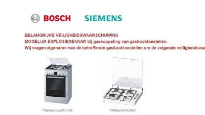 """Waarschuwing voor gaskookplaten en gasfornuizen Bosch en Siemens: """"Explosiegevaar"""""""