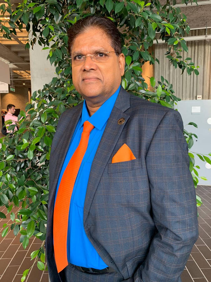 Chan Santokhi van de Vooruitstrevende Hervormingspartij (VHP) in Suriname