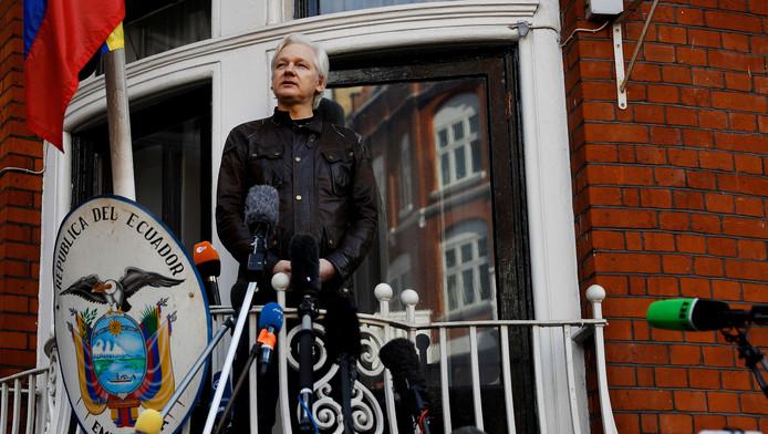 Julian Assange à l'ambassade équatorienne à Londres, le 19 mai 2017.