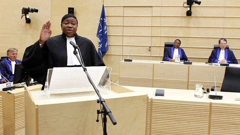 Fatou Bensouda wordt geïnstalleerd als nieuwe hoofdaanklager van het Internationaal Strafhof (ICC). Beeld anp