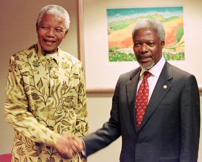 Met Nelson Mandela, in 1998.