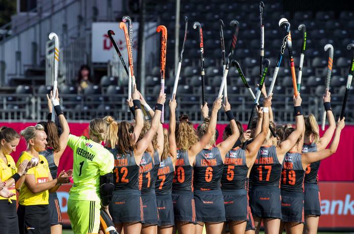 De Nederlandse hockeysters op een archieffoto.