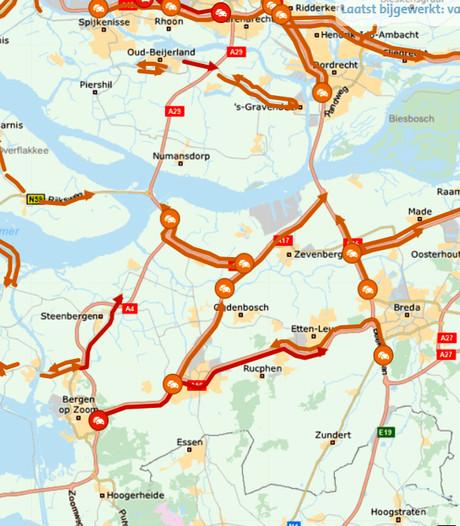 Chaotische avondspits: hier stond het  vast in West-Brabant
