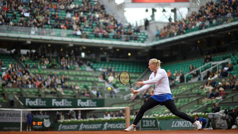 Kiki Bertens tijdens de halve finale van Rolland Garros vorig jaar Beeld anp