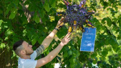 Robbe (23) hangt kunstwerk in Hof ter Linden om slachtoffers corona te eren